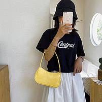 Женская сумочка лодочка из крокодила желтого цвета, фото 4