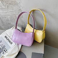 Женская сумочка лодочка из крокодила желтого цвета, фото 6