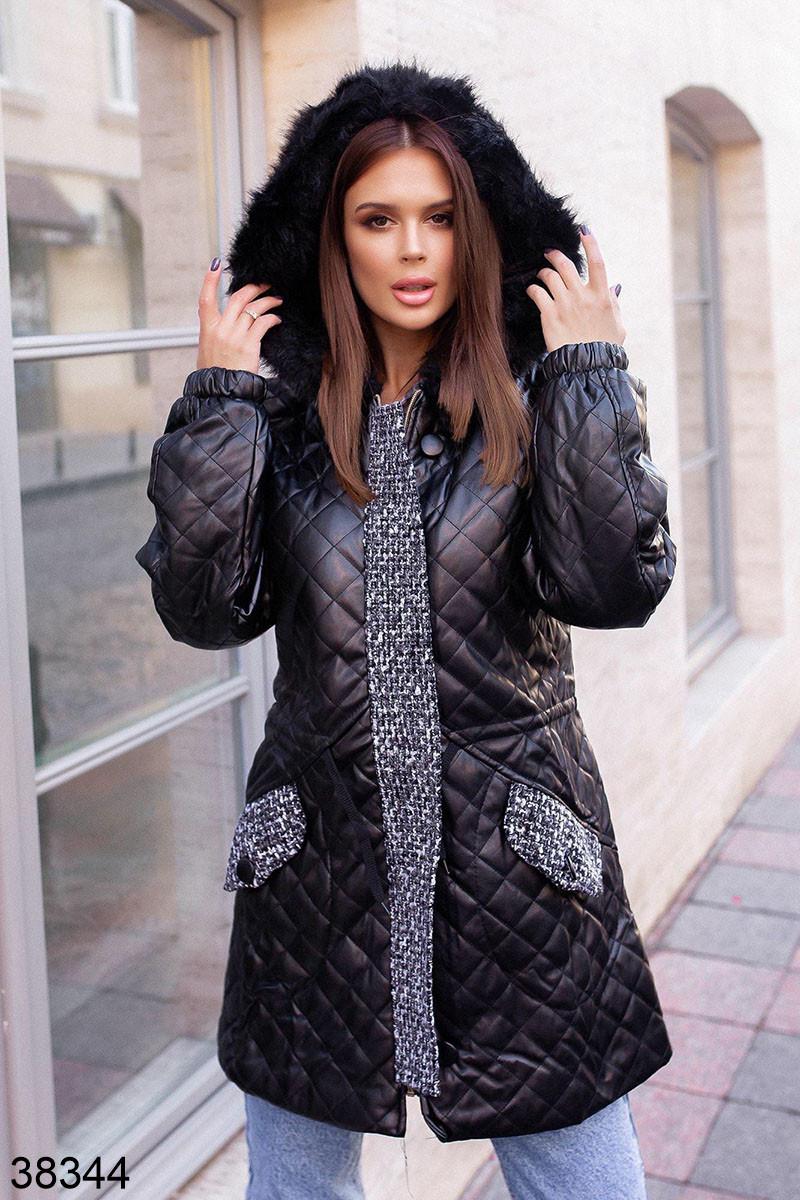 Женская черная стеганная куртка с капюшоном р. 42, 44, 46