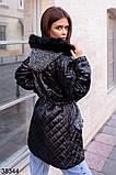 Женская черная стеганная куртка с капюшоном р. 42, 44, 46, фото 2