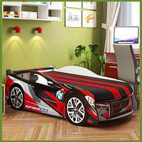 Кровать машина серии Space BMW с матрасом, мягким подголовником и подушкой