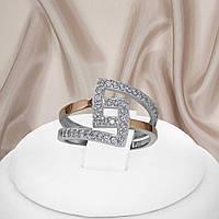 """Женское серебряное кольцо с золотыми пластинами и белыми фианитами """"401"""", фото 1"""