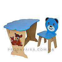 Детский стол! Столик парта ТУЧКА, рисунок олененок и стульчик детский Медвежонок