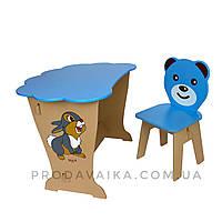 Детский стол! Столик парта ТУЧКА, рисунок зайчик и стульчик детский Медвежонок