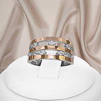 """Жіноче срібне кільце з золотими пластинами і білими фіанітами """"428"""", фото 1"""