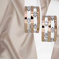 """Серьги серебряные с золотыми вставками и белыми фианитами """"428"""", фото 1"""