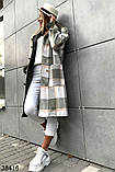 Женское длинное кашемировое пальто в клетку р. 42-46, фото 2