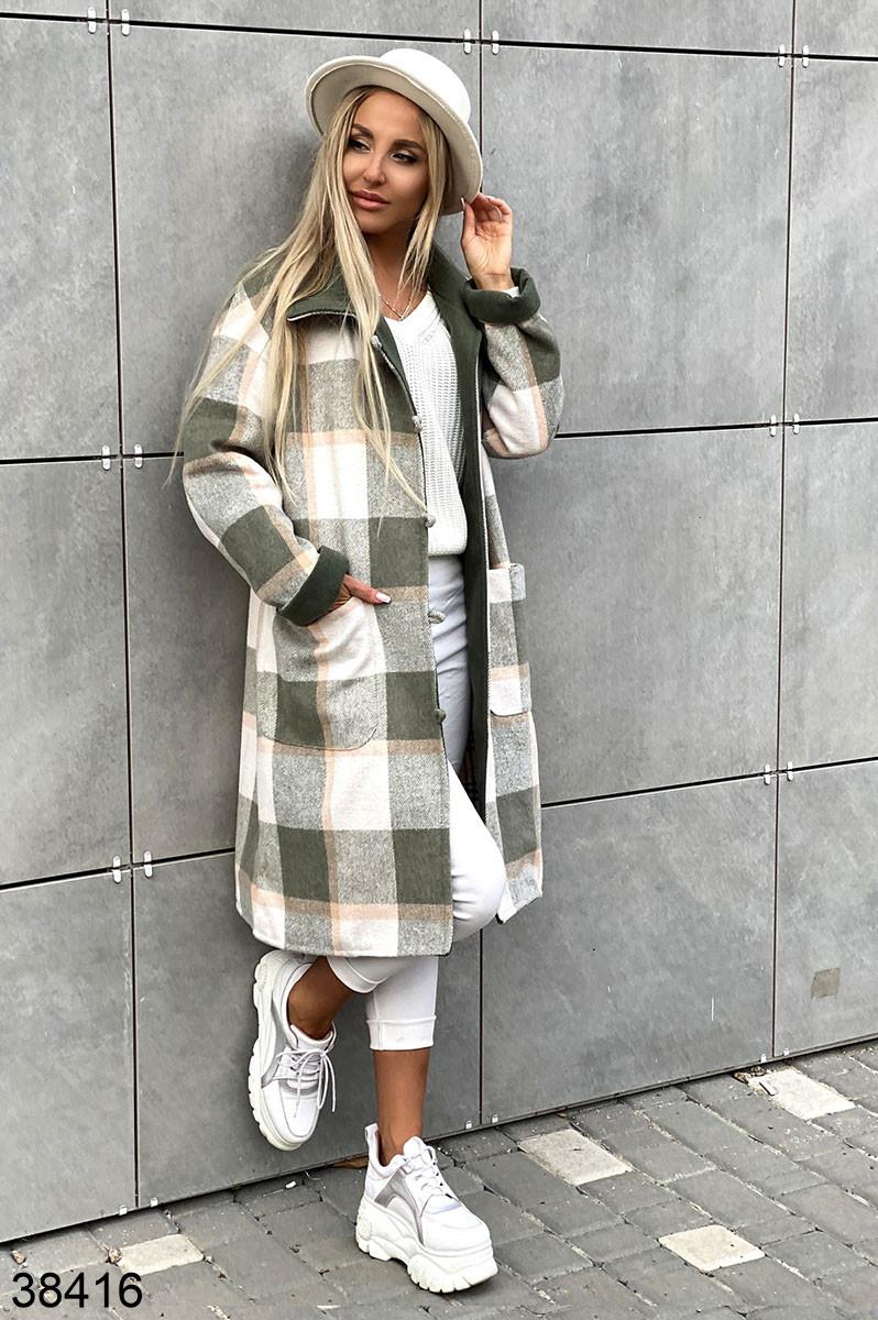 Женское длинное кашемировое пальто в клетку р. 42-46