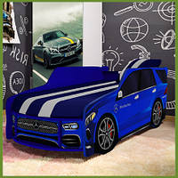 Кровать машина Премиум Mercedes-Benz синий с матрасом