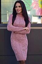 Плаття в'язане під горло з довгим рукавом, фото 3