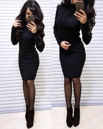 Плаття в'язане під горло з довгим рукавом, фото 2