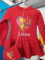 Плаття теплі у 3-ох кольорах на ріст:98-104 см(маломірять)