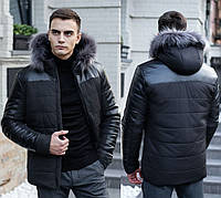 Куртка мужская зимняя с мехом теплая, молодежная черная S XXL