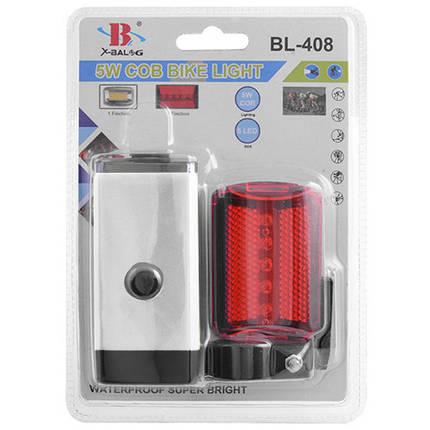 Комплект велосипедный задний и передний фонарь для велосипеда фонарик светодиодный габарит белый, фото 2