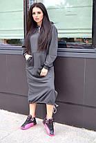 Платье свободного кроя с капюшоном ниже колена, фото 2
