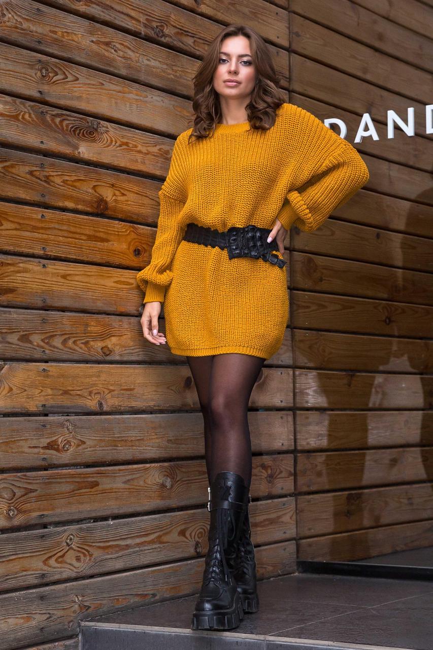 В'язана туніка-плаття «Тіна» Гірчиця Універсальний розмір oversize 46-56
