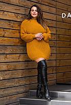 В'язана туніка-плаття «Тіна» Гірчиця Універсальний розмір oversize 46-56, фото 3
