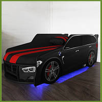 Кровать машина Премиум BMW черный с матрасом