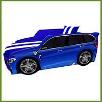 Кровать машина Премиум BMW синий с матрасом