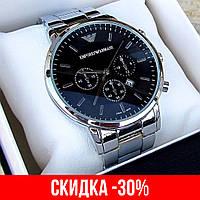 Мужские серебряные наручные часы Emporio Armani / Армани