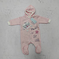 Комбинезон с капюшоном для новорожденной девочки, р. 68 (капитон)