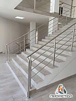 Перила по обидва боки сходів з нержавіючої сталі AISI 304, поручень Ø50 мм, стійка Ø42 мм, 3 рігеля Ø16 мм, фото 1
