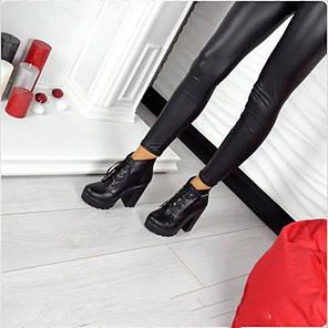Черевики зі шнурком на підборах, натуральна шкіра байка, фото 2