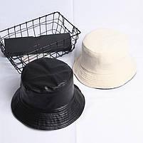 Модная женская панама с эко-кожи на флисе - Черный, фото 3