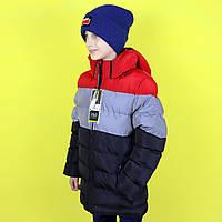 Зимняя черная куртка для мальчика  светоотражающие элементы тм S&D размер 158 см