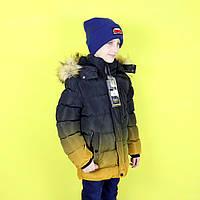 Зимняя куртка для мальчика желтый градиент тм S&D размер 152,158 см