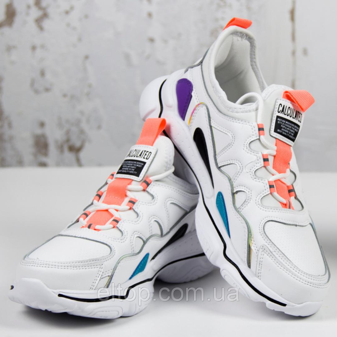 Модные женские кроссовки белые демисезонные BaaS Модель L1600-14 Размер 36 - 41