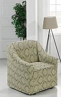 Чохол для крісла універсального розміру Бежевий вензель, фото 1