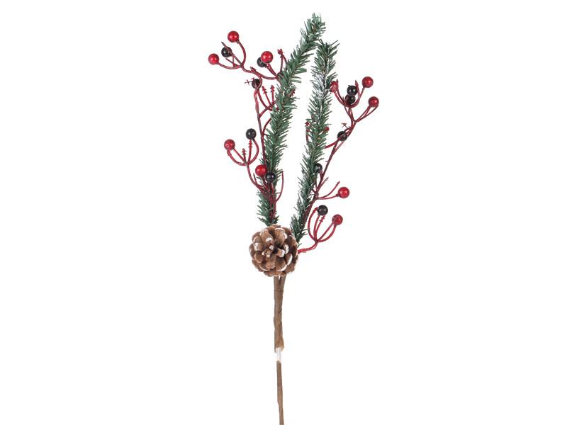 Веточка декоративная новогодняя 60 см 801-016, набор 3 шт