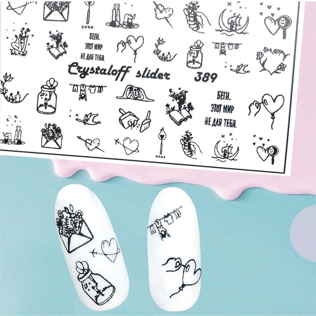 Наклейки на водной основе слайдер дизайн для ногтей Молодежный Креатив - Наклейки на ногти Crystaloff Slider