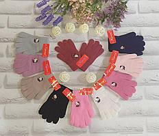 Детские перчатки L 10-14 лет рукавички одинарные с начесом  Корона