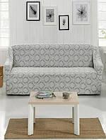 Натяжна чохол для дивана Світло сірий жаккард, фото 1