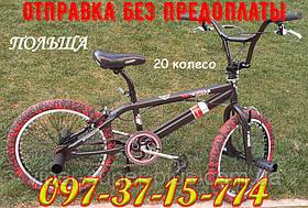 ⭐✅ BMX Велосипед Crosser VSP Cobra Черный 20 Дюймов для разных трюков Черно-Красные покрышки