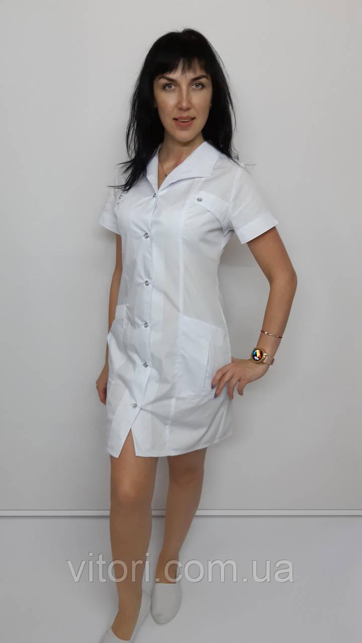 Медицинский женский халат Женева хлопок короткий рукав