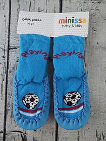 Носки-чешки С подошвой для мальчиков Minissa Турция размер детской обуви 24-25 (по стельке 16 см), Футбольный