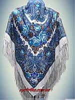 Шерстяной платок 120х120 Белый бирюза