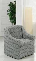 Чехол на кресло Без оборки Evibu Серый жаккардовый трикотаж
