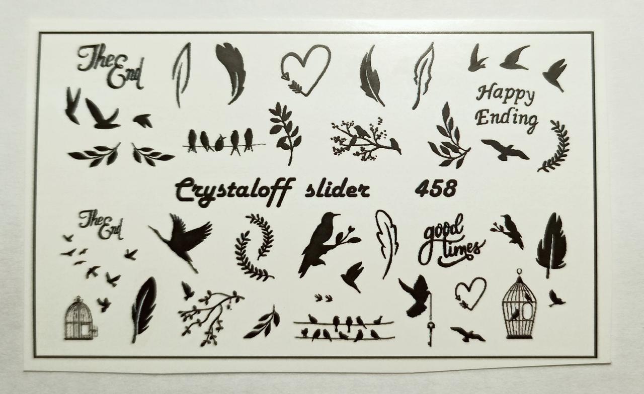 Наклейки слайдеры на водной основе для дизайна ногтей Птицы Веточка Перышко - Слайдер дизайн Crystaloff Slider