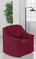 Чехол на кресло Без оборки Evibu Бордовый жаккардовый трикотаж