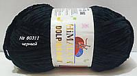 Нитки пряжа для вязания велюровая плюшевая DOLPHIN BABY Долфин Беби № 80311 - черный