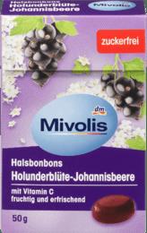 Mivolis Bonbon Holunderblüte-Johannisbeere Леденцы для горла без сахара Бузина и смородина + витамин С 50 г