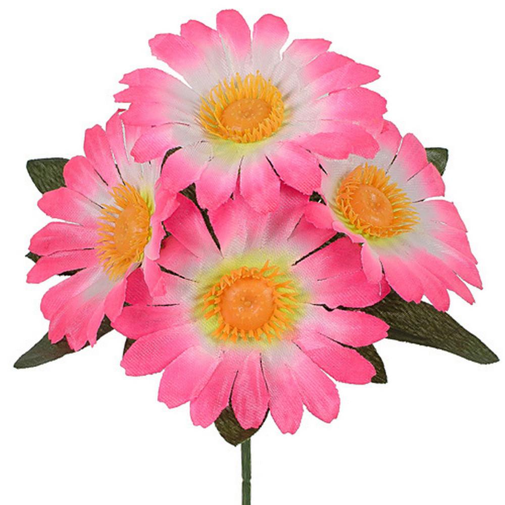 Искусственные цветы букет ромашка бордюрная атлас, 20см (60 шт в уп)