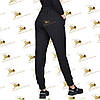 Утеплені штанці з накаткою-печаткою трехнитка на флісі колір чорний, фото 2