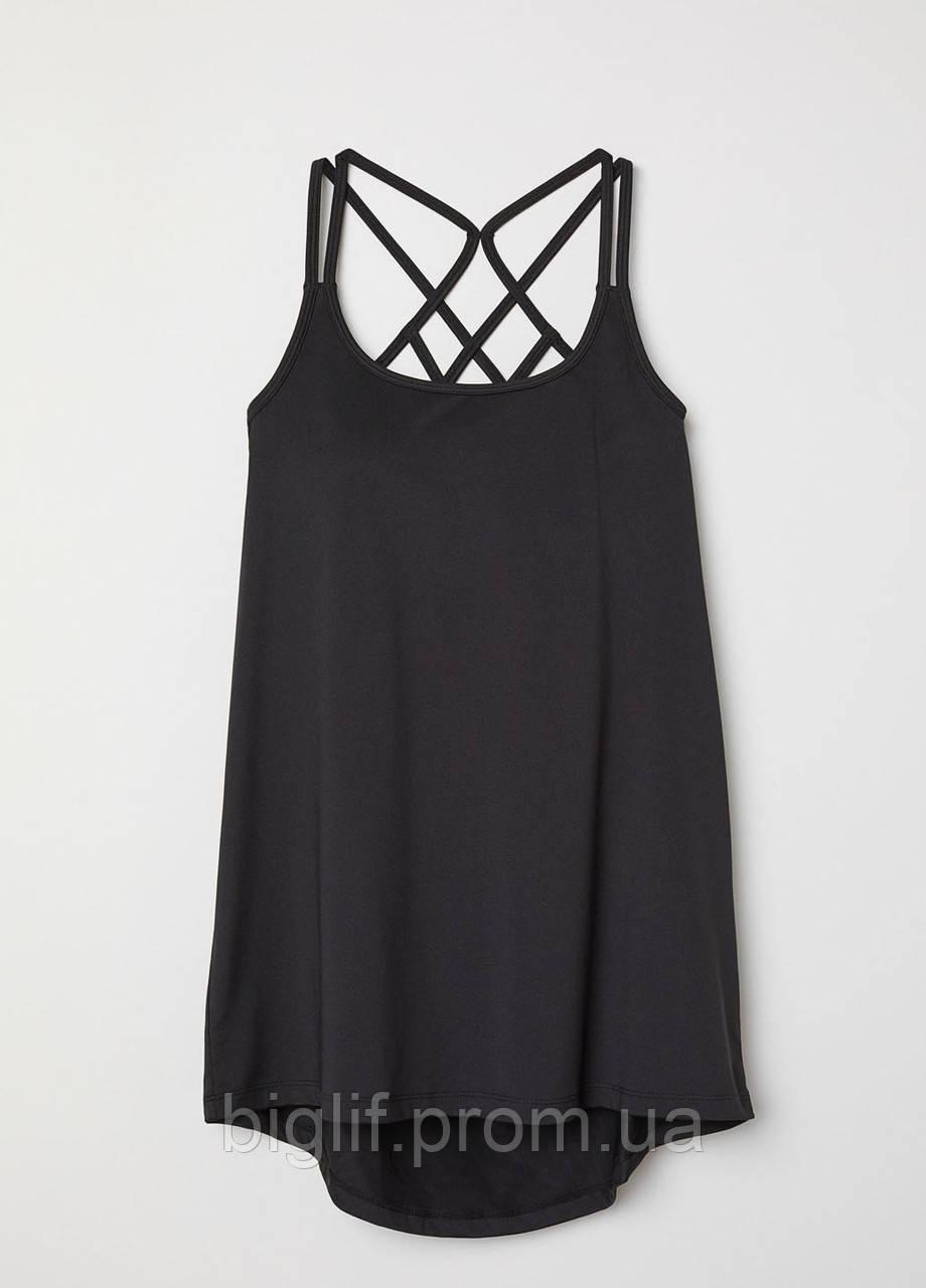 Майка-топ спортивная H&M для тренировок XS меланжевый черный (9852950)