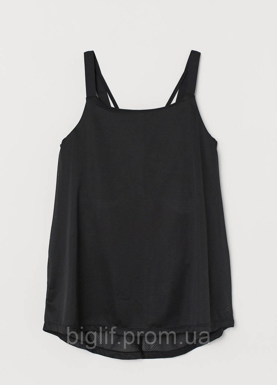 Майка с вшитым топом H&M для тренировок М перфорированная  черный (07421960)