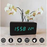 Настольные Электронные Часы VST-862 черные, зеленая подсветка с будильником, датой и термометром